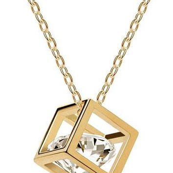 Crystal hot popular real zricon cube Pendant Necklace