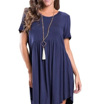 Chicloth Navy Blue Short Sleeve Pullover Babydoll Style Casual Dress