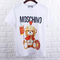 MOSCHINO Hot Sale Trending  Women Men Casual Cartoon Cartoon Armor Bear T-Shirt Top White