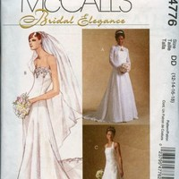 Bridal Sewing Pattern Strapless Wedding Gown with Shrug 12-14-16 -18