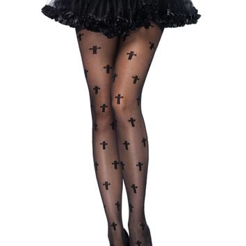Cross Pantyhose (One Size,Black)
