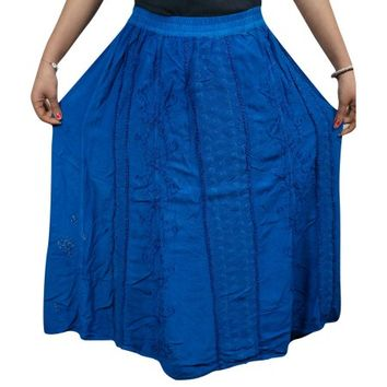 Mogul Women's Rayon Skirt Blue Embroidered Summer Boho Chic Skirts - Walmart.com