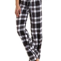 Plaid Flannel Pajama Pants by Charlotte Russe - White Combo