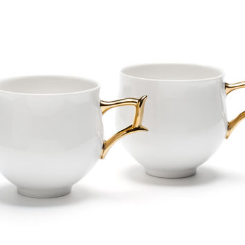 Porcelain Cups Set, White Ceramics with Gold Handlers, Coffee or Tea Cups for Two, Ceramics and Pottery, Modern Unique Home Design,