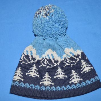 70s Pine Trees Knit Bobble Winter Hat