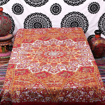 Twin Indian Mandala, Mandala Tapestries, Boho Tapestries, Indian Tapestry, gypsy Wall hanging, Twin Teen age Dorm Room sheet, Red Star Sheet