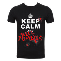 Keep Calm And Kill Zombies-Round Neck Men T-shirts 100% Cotton T-Shirt
