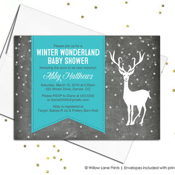 Gender neutral baby shower invite - rustic baby shower invitations - winter theme shower - DIY printable (701)