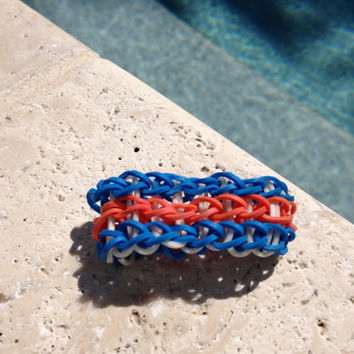 Tripple Rainbow Loom Bracelet Blue Orange White With Optional ADD ON Charm Football Soccer Baseball Basketball Cheer Tennis  Yoga