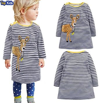 Princess Dress Brand Baby Girls Dresses with Dear Appliques Cotton Casual Tunic Children Dress Kids Clothes