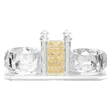 Crystal Salt Holder With Toothpick Holder And Silver 6.14x2.38x2.58