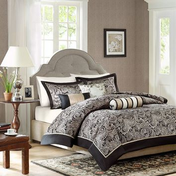 Madison Park Wellington 6-pc. Duvet Cover Set (Black)