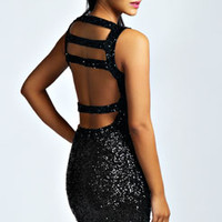 Faye Strappy Back Sequin Bodycon Dress