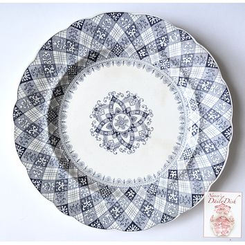 Antique Gray Blue Transferware Plate Caledonian Tartan Plaid Staffordshire Ridgway