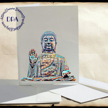 Rainbow Art of Buddha - - 10 Cards & Envelopes, Printable Art on Matte Note Cards,Everyday and Special Cards