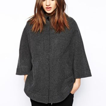Helene Berman Collarless Cape with Concealed Button Front - Dark gray