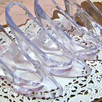 Cinderella Slippers. Set of 4. Clear Plastic High Heel Pumps or Shoes