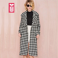 RCC Autumn 2016 High quality woolen ladys houndstooth X-long wind coat womens single button Long sleeve Dust overcoat