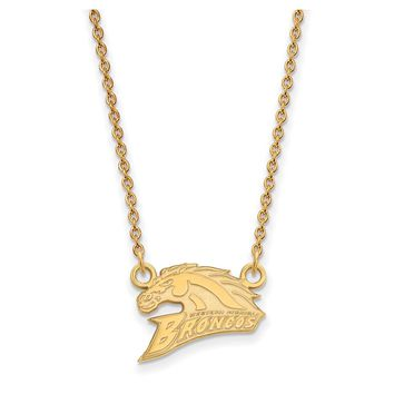 NCAA 14k Gold Plated Silver Western Michigan U Small Pendant Necklace