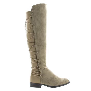 Oksana118 Taupe By Wild Diva, Knee High Riding Boots w/ Stretchy Elastic Back Gore & Laced Design