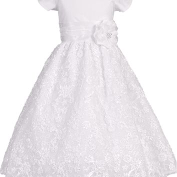 Tulle Overlay Girls Communion Dress w. Floral Ribbon Skirt 5-12