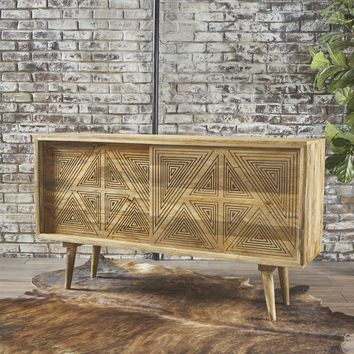 Sterving Natural Finished Solid Mango Wood Sideboard Cabinet