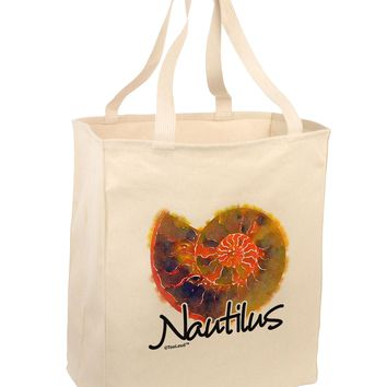 Nautilus Fossil Watercolor Text Large Grocery Tote Bag