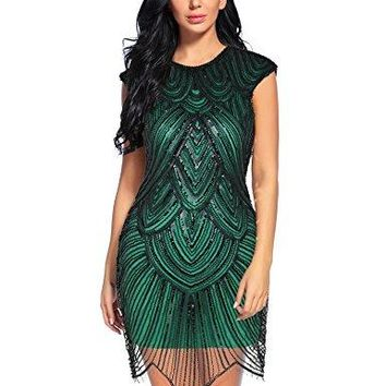 1920s Dress Great Gatsby Sequin Embellished Mesh Flapper Cocktail Dresses
