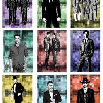 "mens fashion clip art  digital image download collage sheet graphics illustratione 2.5"" x 3.5"" printable for jewelry cards tags crafts"