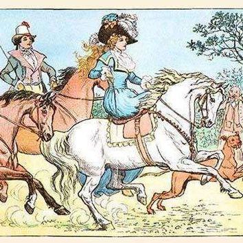 Young Girl Rides a White horse followed by a suitor (Fine Art Giclee)