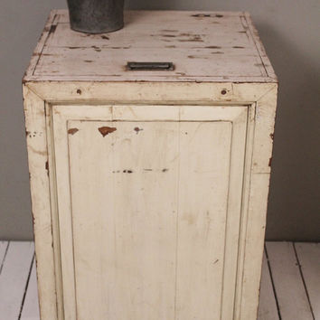 Vintage Laundry Hamper Indian Industrial Mid Century Whitewash Side Table Storage Box