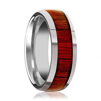 Tungsten Wood Ring - Padauk Wood - Tungsten Wedding Band - Polished Finish - 8mm - Tungsten Wedding Ring