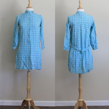 1960s Mod Blue and Green Tartan Stripe Scooter Shift Dress // Small