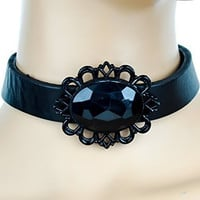 Black Stone with Black Victorian Setting Leather Choker Gothic Necklace
