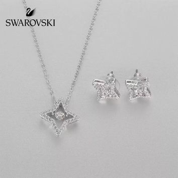 """Swarovski"" Star Necklace + Star Earrings"