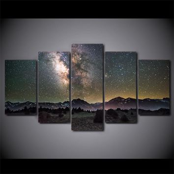 Galaxy Night Stars Starry Sky Modern Wall Canvas Panel Picture for Living Room