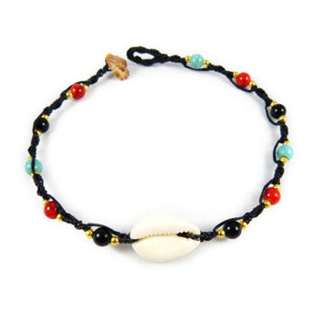 Anklet Thai Cowry Shell Micro Macrame Surfer Onyx Turquoise Beads Boho Tribal Gypsy Cowrie