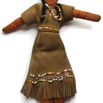 Vintage North American indigenous woman cloth doll, handmade, suede fringed dress, Canadian First Nation, Inuit, Native American, 1960s.