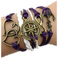 Healthtop Infinity Heart Love Anchor Compass Antique Silver Purple White Leather Rope Wrap Bracelets