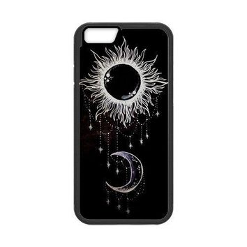 LeonardCustom Protective TPU Rubber Gel Fitted Cover Case for iPhone 6 4.7 inch, Funny Trippy Sun and Moon LCI6U05