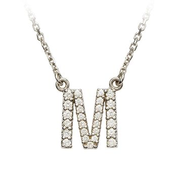 1/5 Cttw Diamond & 14k White Gold Block Initial Necklace, Letter M