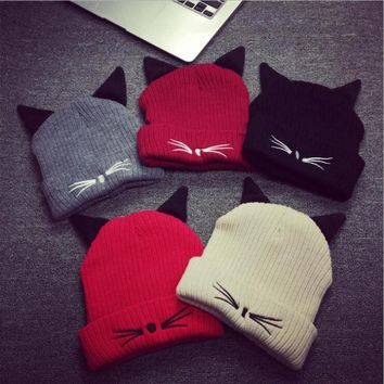 HT563 HOT NEW Women Winter Hat Evil Cat Ear Beanie Cap Winter knit beanie hat striped gorra plain bonnet casquette bone gorros