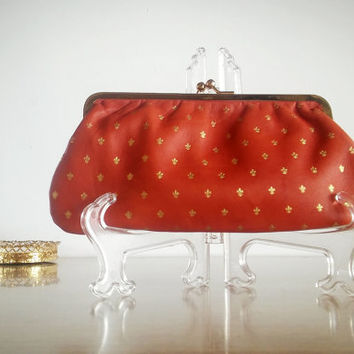 Vintage Leather Fleur Clutch Italy Kiss Lock Gold, Vintage Clutch Leather Fleur Design Snap Closure