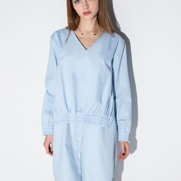 Light Blue Elastic Layered Shirt Dress