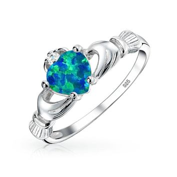 BFF Celtic Irish Friendship Couples Blue Created Opal Claddagh Ring