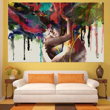 Canvas Wall Art: Hugging Loving Couple Canvas Wall Art