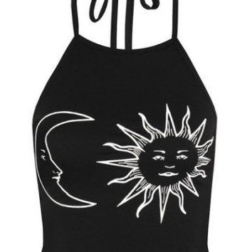 Vintage Sun And Moon Halter Neck Top - 2 Colors