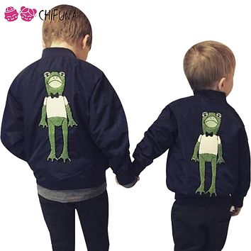 chifuna New Autumn Jackets For Babys Boys Coat Bomber Jacket Two Color Girls Outwear Jacket Print Kids Children Clothing