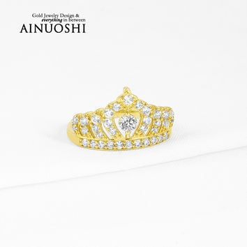 AINUOSHI 10k Solid Yellow Gold Women Engagement Ring Simulated Diamond Bague Princess Crown Rings Brand Fine Jewelry Customized