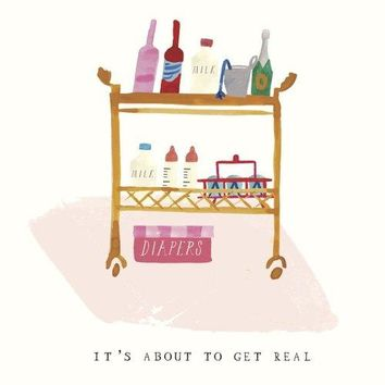 Diapers on the Bar Cart Congratulations Card